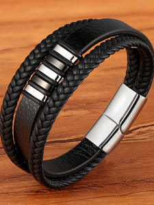 Men Bracelet Bangles Jewelry-Accessories Charm Braided Punk Rock Stainless-Steel Magnetic