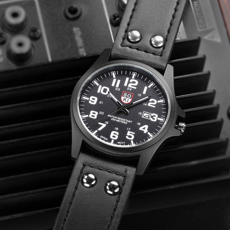 Leather Strap 2021 Trendy Beautiful Men's Quartz Watch