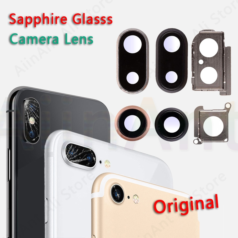 Original Sapphire Crystal <font><b>Back</b></font> Rear Camera <font><b>Glass</b></font> Ring For <font><b>iPhone</b></font> 7 <font><b>8</b></font> Plus Camera Lens Ring Cover <font><b>Repair</b></font> Parts image