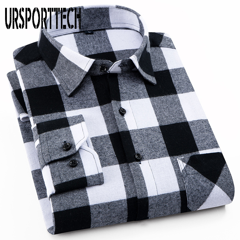 100% Cotton Mens Plaid Flannel Shirts Slim Fit Male Casual Long Sleeve Shirt Soft Comfortable Breathable High Quality Man Shirts