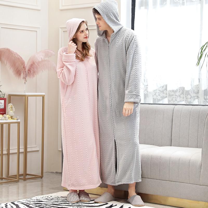 40-110KG Women Winter Plus Size Long Hooded Flannel Bathrobe Warm Bath Robe Zipper Pregnant Night Dressing Gown Men Sleepwear