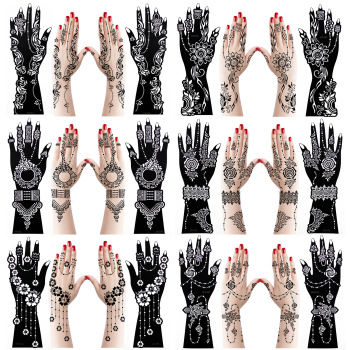 12pcs Large Henna Hand Tattoo Stencils Flower Glitter Airbrush Mehndi Indian Henna Tattoo Templates Stencil For Body Painting 1