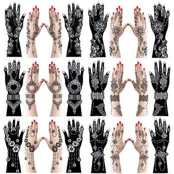 12pcs Large Henna Hand Tattoo Stencils Flower Glitter Airbrush Mehndi Indian Henna Tattoo Templates Stencil For Body Painting 1