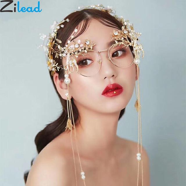 Zilead Women Luxury Pearl Round Glasses Frame Metal Crystal Flower Eyeglasses Frame Bride Wedding Photograph Props Decoration
