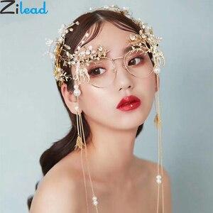 Image 1 - Zilead kobiety luksusowe perły okrągłe okulary rama Metal kryształ kwiat ramki okularów panna młoda ślub fotografia rekwizyty dekoracji