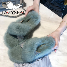 LazySeal Crystal Home Natural Fur Slippers Women Shoes Warm Plush