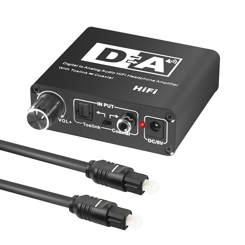 Hifi <font><b>DAC</b></font> Amp Digital To Analog Audio Converter RCA 3.5mm Headphone Amplifier Toslink Optical Coaxial Output Portable <font><b>dac</b></font> 24bit image