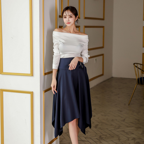2 Pieces Set Suits Women Elegant Sexy Autumn off shoulder Shirt Top Sheath Bodycon Pencil Skirt Office  Suits Set Multan