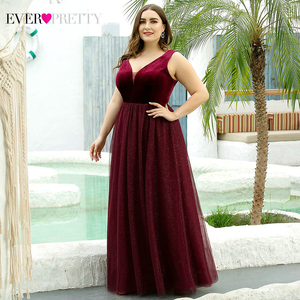 Image 4 - Elegant Evening Dresses Ever Pretty EP07849 Burgundy Sexy Formal Party Gowns 2020 Sparkle Tulle Womens Wedding Party Gown