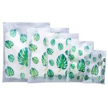Leaf Print Transparent Travel Storage Bag Waterproof Sealed Bags Luggage Clothes Sorting Bag reusable EVAS organizer with zipper