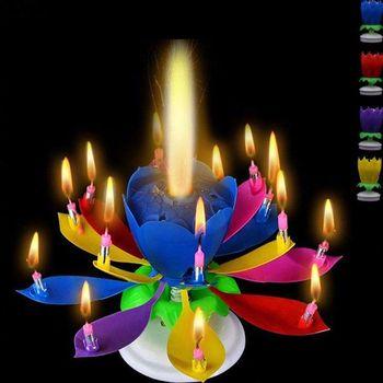Świeczka tortowa muzyczna świeca w kształcie kwiatu lotosu strona prezent sztuka szczęśliwa świeca urodzinowa światła Party DIY ozdoby do dekorowania tortu tanie i dobre opinie Art świeca Flower Urodziny Ogólne świeca Muzyka Parafina Music Candles cake Candles Birthday Christmas boxes