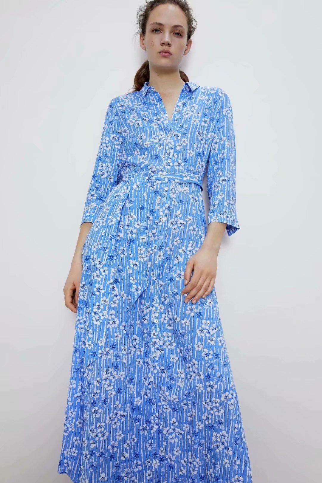 2020 New Spring Summer New Style European Flower Floral Printed Female Dress Zaraing Vadiming Sheining Women's Blue Print Dress
