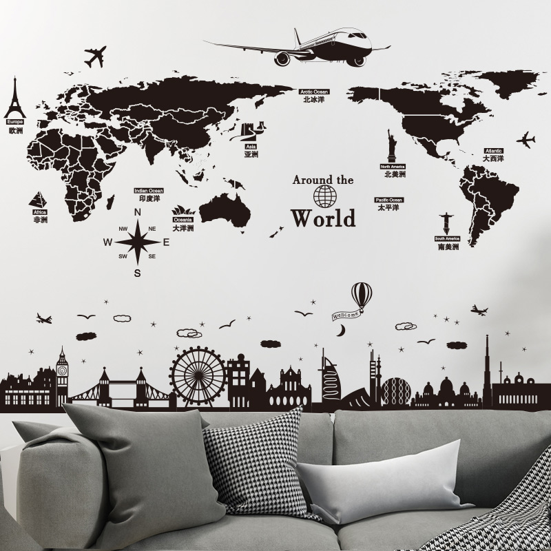 shijuekongjian World Map Wall Stickers DIY Europe Style Buildings Mural Decals for House Living Room Bedroom Office Decoration in Wall Stickers from Home Garden