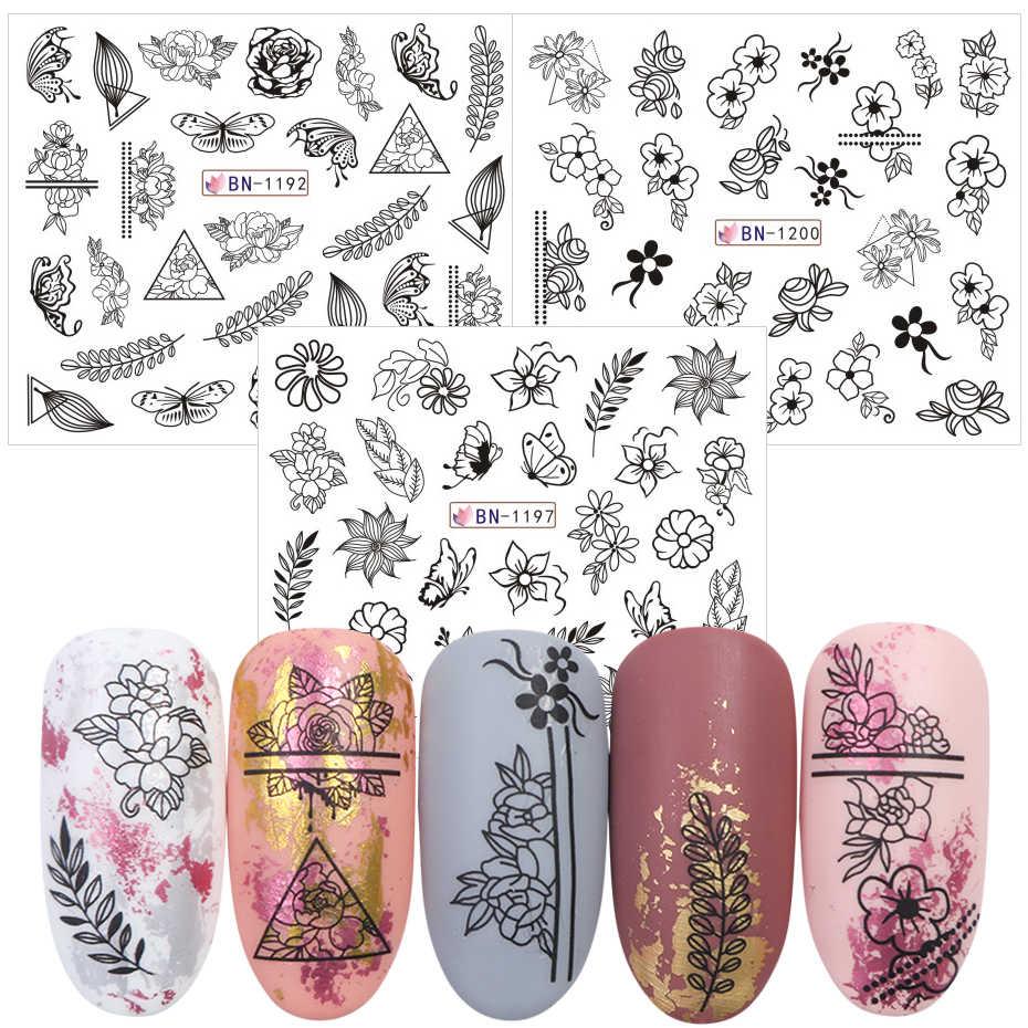 12 Pcs Mix Zwarte Bloem Nail Art Sticker Decals Hollow Bloemen Vlinder Water Transfer Slider Manicure Decoratie SABN1189-1200-1