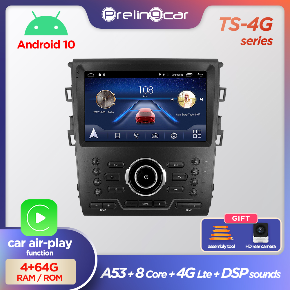prelingcar Android 9.0 System Car IPS Touch Screen Stereo For Ford Mondeo player Stereo with buttons navigation system