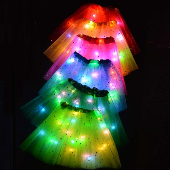 Christmas Kids Star LED Tutu Light Skirt Princess Party Tulle Pettiskirt Ballet Birthday Gift  Elf Costume Wedding Flower Girls