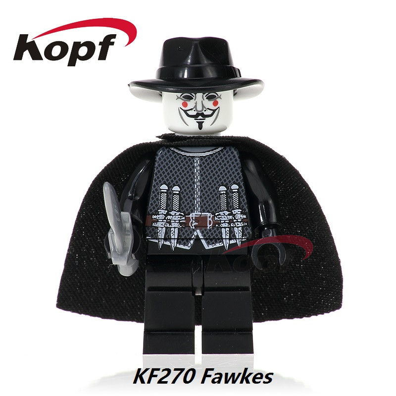 Single Sale Super Heroes Building Blocks Guy Fawkes Deadpool Action Figures Learning Chirstmas Gift Toys For Children KF270