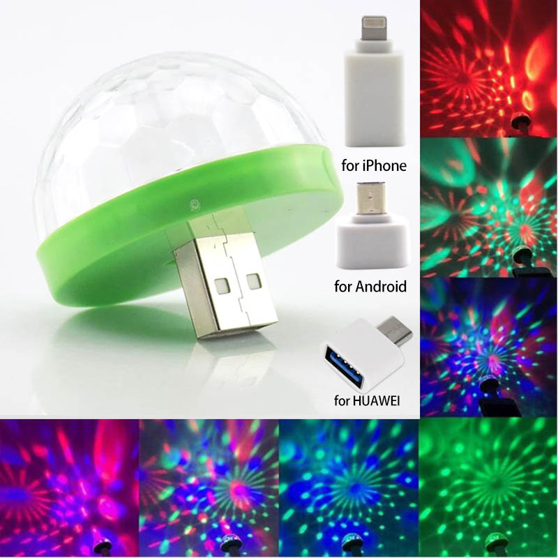 5V USB LED Mini Stage Disco DJ Light Mobile Phone In Car Christmas New Year Party Lighting Auto Rotating RGB Bulb Lamp Ball