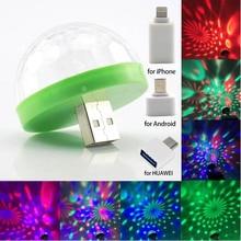 Lamp Ball Dj-Light Disco Mobile-Phone Mini Bulb Stage Auto-Rotating 5V Car RGB LED USB