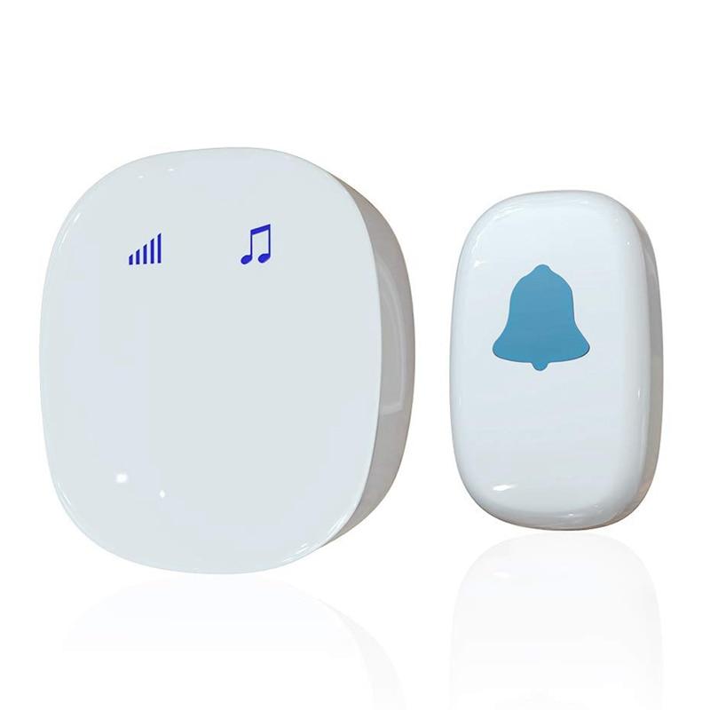 Eu Plug,Wireless Doorbell Kit, Press Control Doorbell Kit, Wireless Remote Control Doorbell, Home, Classroom And Office, White E