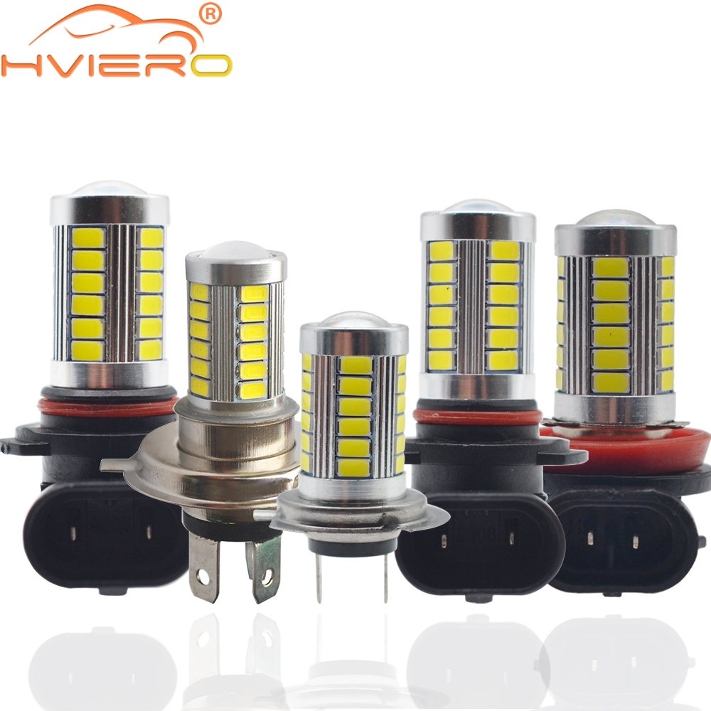 2X H4 H7 H11 9005 9006 Car Motorcycle Led Headlight Bulbs 6000K White 5630 33LED DC 12v Fog Lamp Light DRL Daytime Running Light