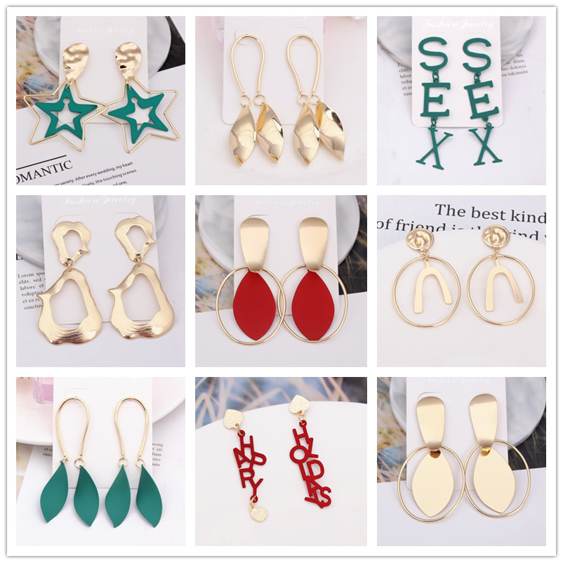 Exaggerated Drop Earrings For Women Multiple Choices Painted Metal Geometric Dangle Earring Brincos Wedding Jewelry Party Gift