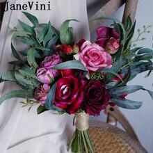 JaneVini Vintage fucsia novia Rosa ramo de flores 2020 estilo europeo boda Bouquet encanto nupcial Artificial broches de flores