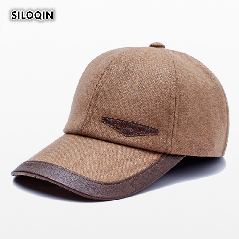SILOQIN Men Autumn Winter New Baseball Cap Middle-aged Elderly Earmuffs Warm Windproof Tongue Adjustable Leisure Tourism Hat