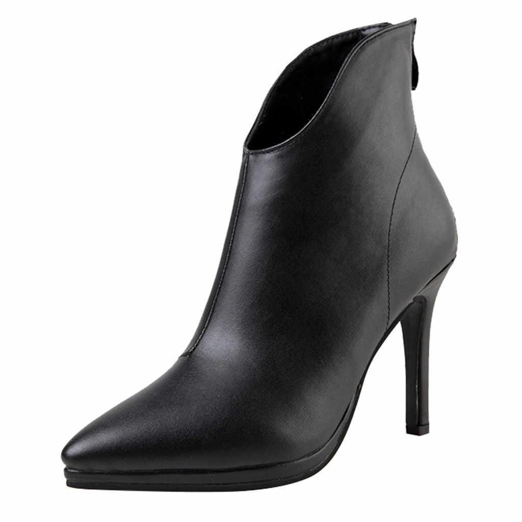 Sapatos de salto alto sexy bota feminina salto das Mulheres Da Moda de Volta Zipper Ankle Boots Apontou Stiletto Sapatos de Salto Alto Botas # smt