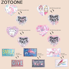 ZOTOONE Heart Patch Cute Cat Flamingo Unicorn Stickers Iron on Patches for Clothing Pants Heat Transfer Accessory Appliques G