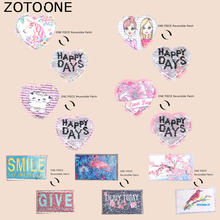 ZOTOONE Heart Patch Cute Cat Flamingo Unicorn Stickers Iron on Patches for Clothing Pants Heat Transfer Accessory Appliques G(China)