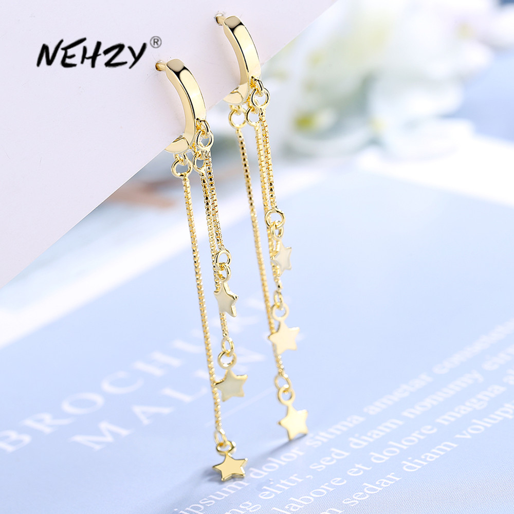NEHZY 925 sterling silver new women's fashion jewelry high quality simple retro stars exaggerated long tassel earrings
