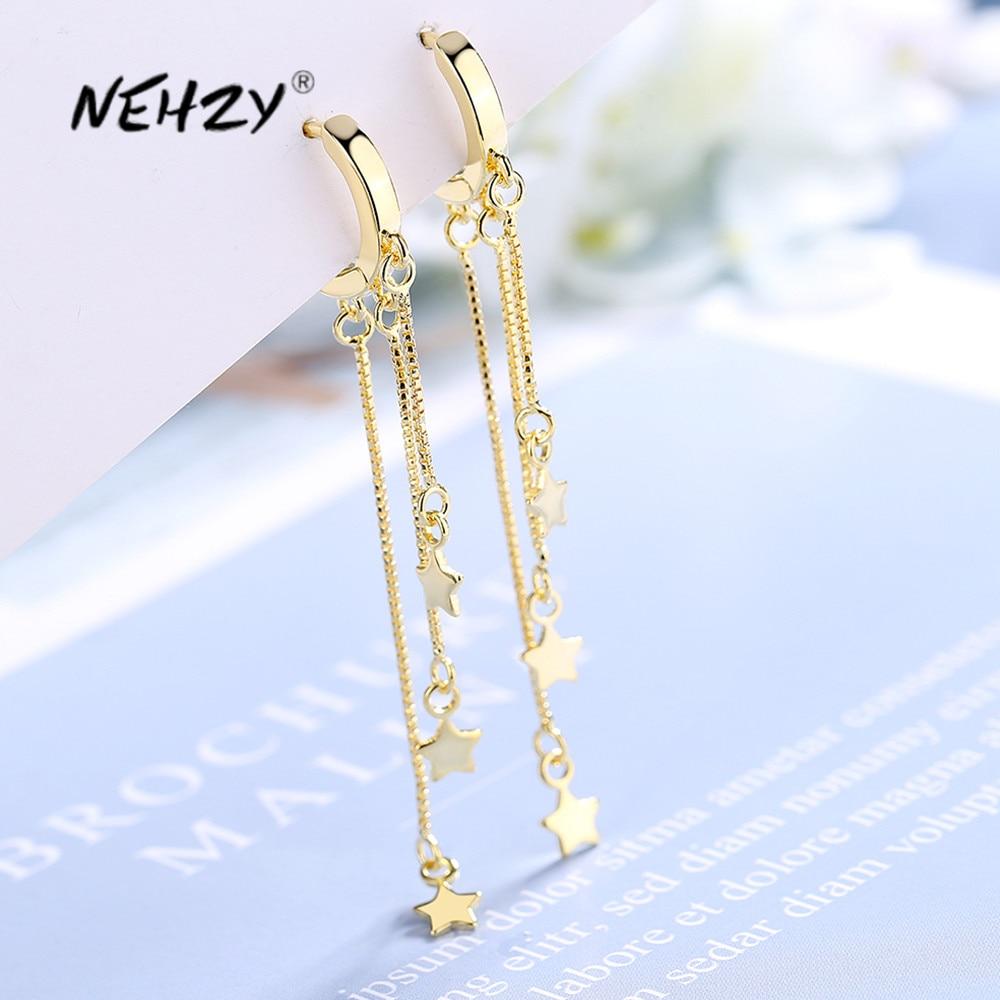 NEHZY-pendientes largos de borla para mujer, de Plata de Ley 925, joyería de moda de alta calidad, simples, retro, estrellas, exagerados