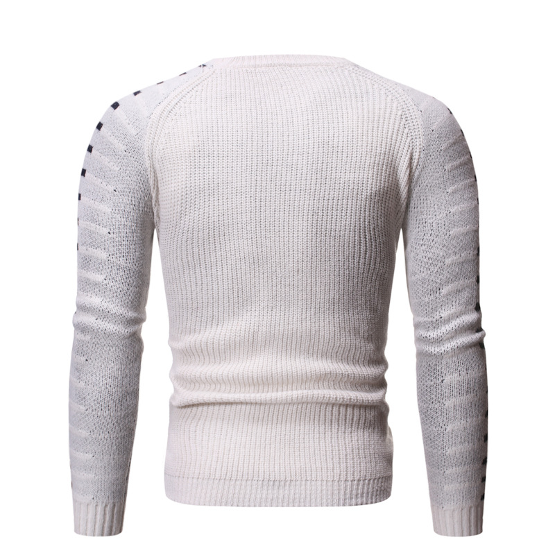 2019 Autumn Men's O Neck Crew Neck Pullover Sweater Fashion Solid Color Slim Fit Plus-sized Sweater Men's Base Shirt