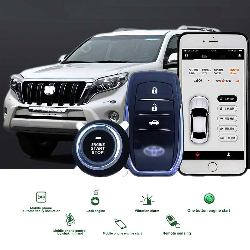 Ios/Android APP Remote Start Vehicle Car Security System Central Locking Keyless Entry PKE Start Stop With 2 Remote Control
