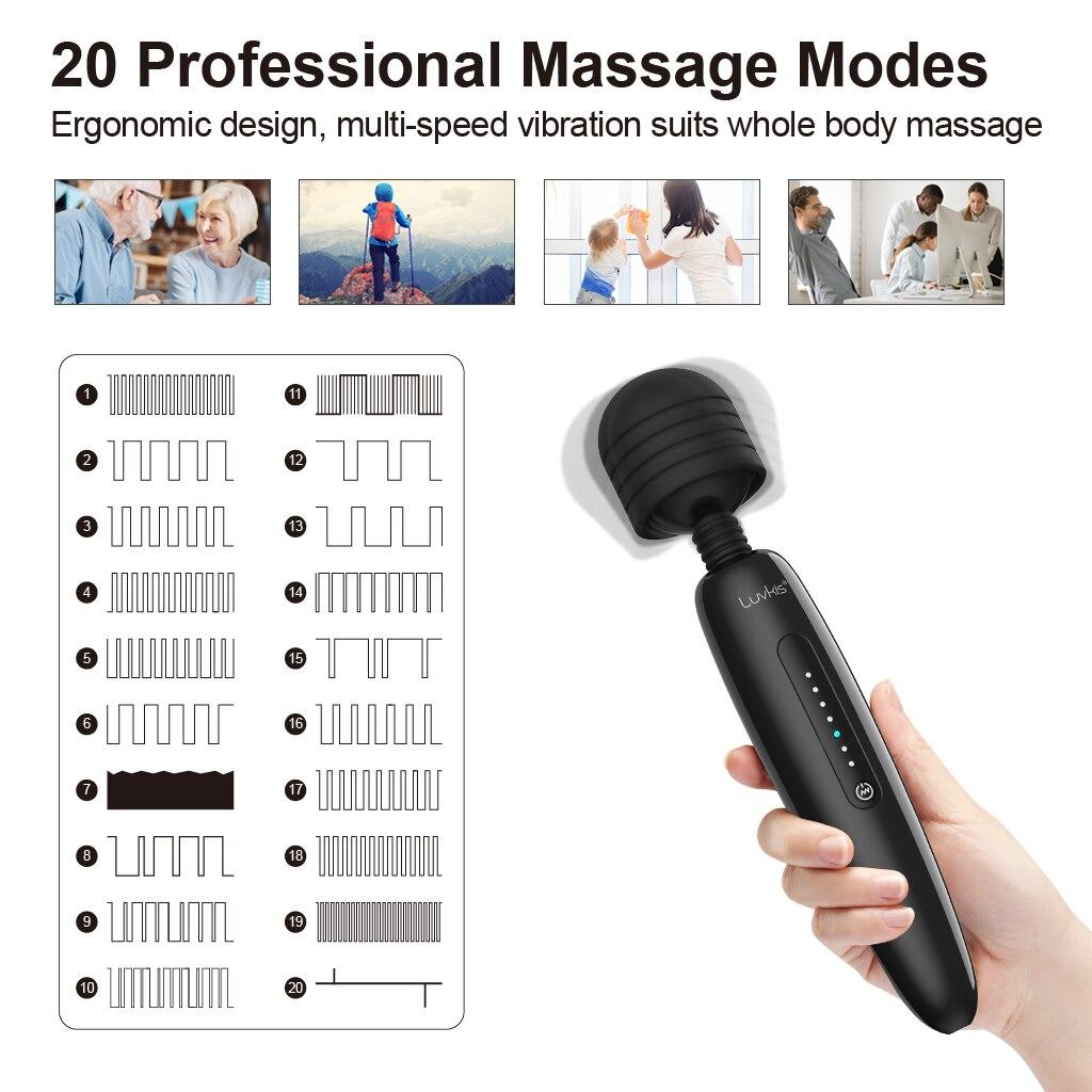 Luvkis Large AV Magic Wand Massager Mr 20 Vibrator Sex Toy For Women Powerful 20 Vibrat