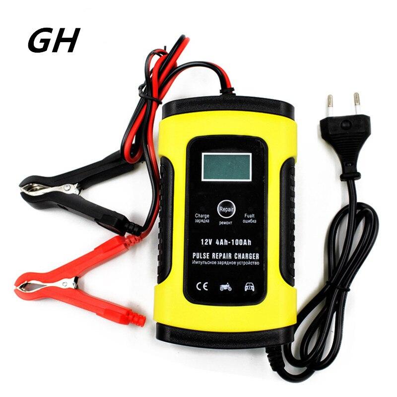 GH chargeur automatique de batterie de voiture 110V à 220V à 12V 6A Intelligent rapide de charge d'alimentation humide sèche plomb acide numérique LCD affichage