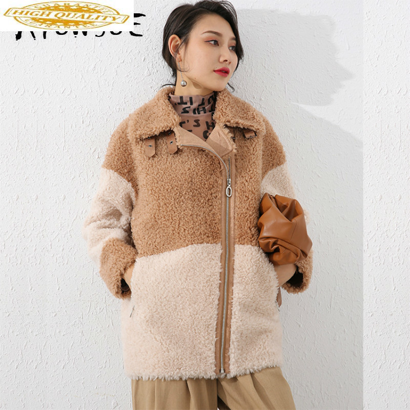 Sheep Shearing Real Fur Coat 100% Wool Jacket Women Clothes 2019 Autumn Winter Coat Women Korean Fashion Fur Tops 19065 Y2092