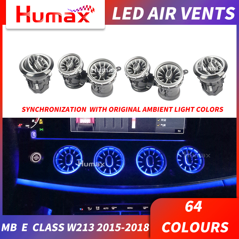 For A /C /E/ GLC/ G / CLA Class LED Turbine Air Vent LED Air Condition Vent Synchronized With Ambient Light W205 W213 X253 W117