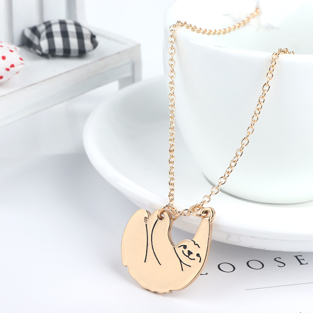 Women Charm Chain Gold Color Silver Color Sloth Bear Animal Necklace