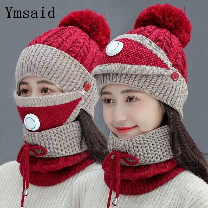 Fashion Winter Hat&Scarf&Mask Set For Women Girls Warm Beanies Breathe Scarf Pompoms Knitted Caps And Scarf Mask 3 Pieces/Set
