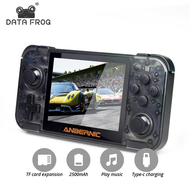 DATA FROG Retro Game Console RG350 64bit Handheld Console 3.5 Inch IPS Screen Dual-core 16G+128G TF Arcade Game Player PS1