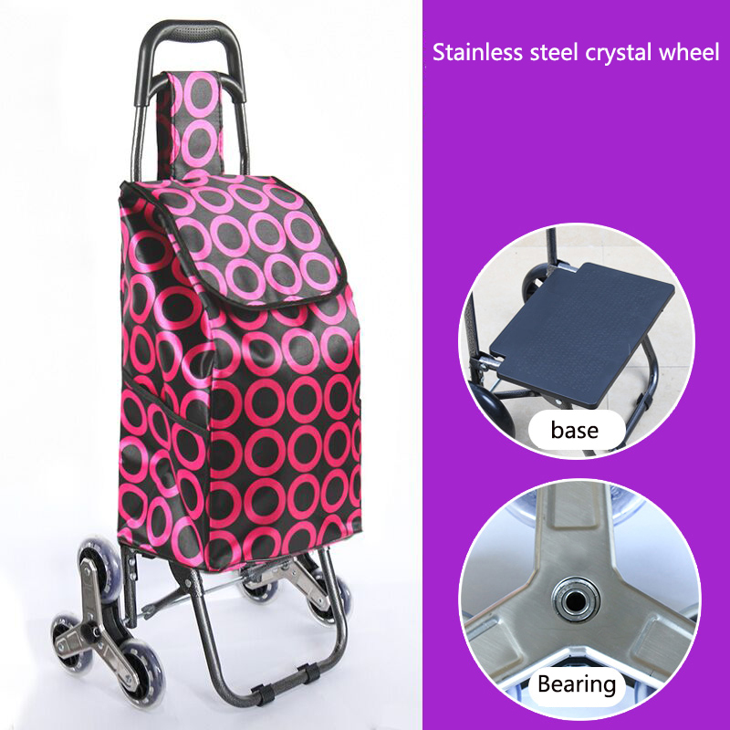 Поднимайтесь вверх, тележка для покупок, большие товары, товары, чехол на колесиках, складная тележка для прицепа, бытовая Портативная сумка для покупок, женская сумка - Цвет: Upgrade style 4