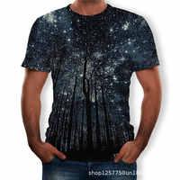 2019 été nouveaux hommes t-shirt 3D étoilé arbre impression numérique hommes top t-shirts décontracté à manches courtes o-cou lâche t-shirt