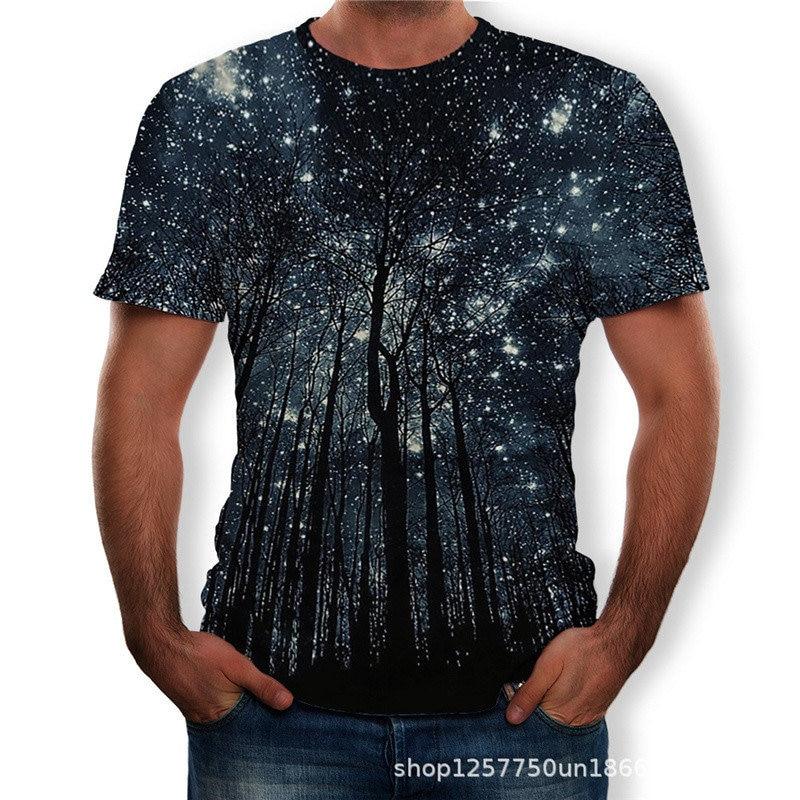 2020 Summer New Men T-shirt 3D Beautiful Starry Tree Digital Printing Men's Top Tees Casual Short-sleeve O-neck Loose Tee ShirtS