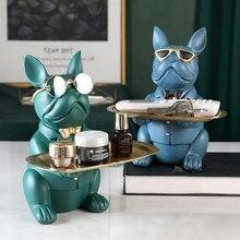 French Bulldog Statue Table Decoration Fashion Sculpture Home Room Decor Multifunction Desk Storage Miniature Figure Coin Ban