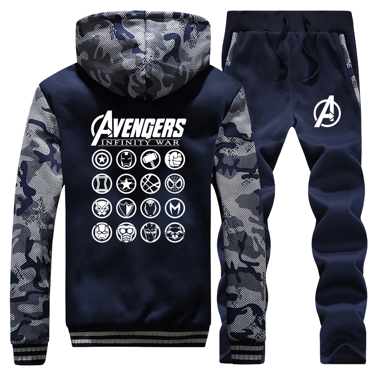 The Avengers Latest Endgame Hoodies Men's Camouflage Sweatshirt Winter Fleece Warm Coat Men Fashion Jacket+Pants 2 Piece Sets