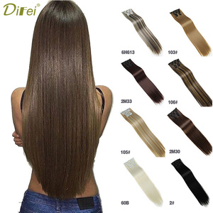 DIFEI 12 colors 16 clips Long Straight Synthetic Hair Extensions Clips in High Temperature Fiber Black Blonde Hairpiece
