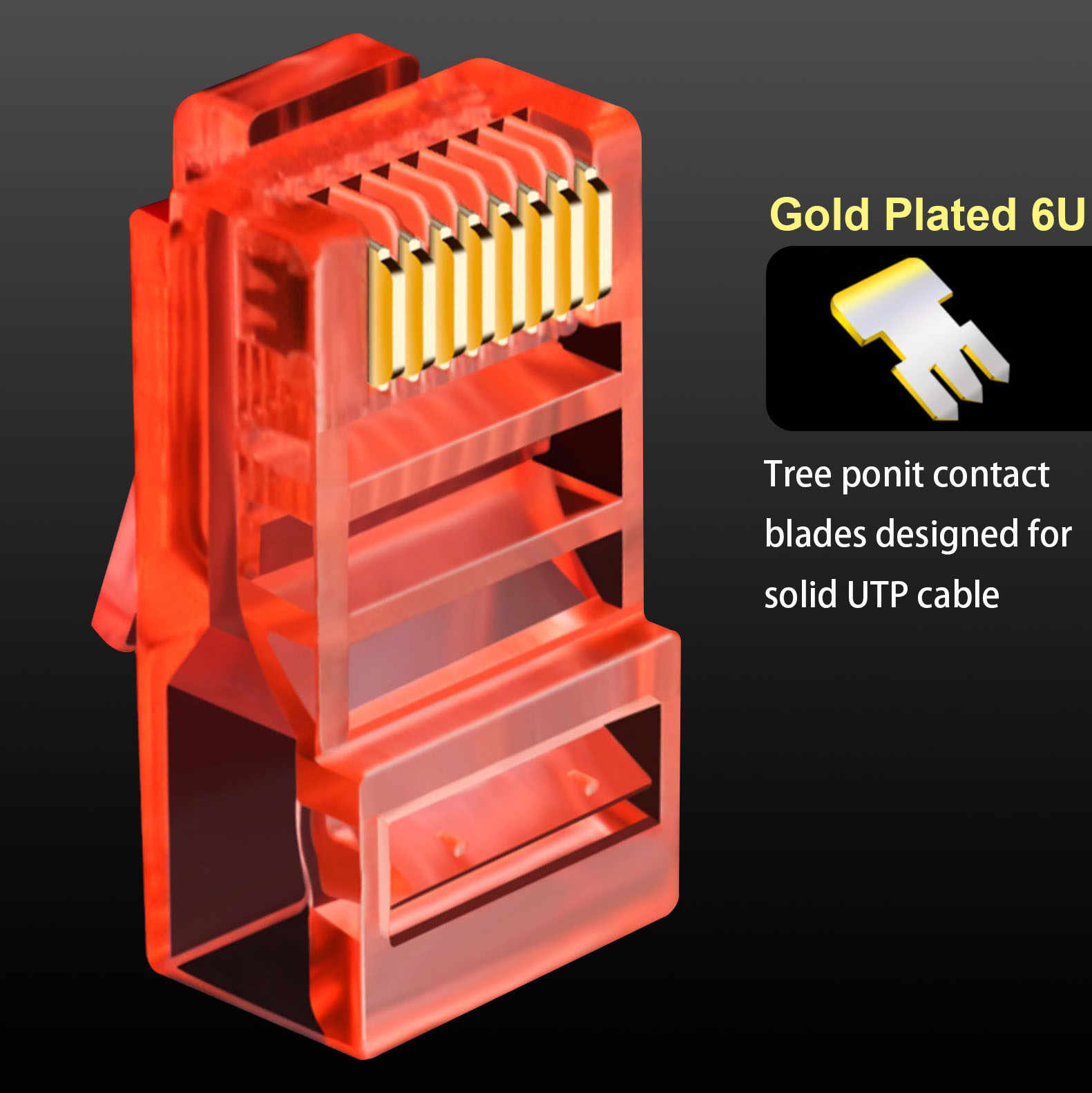 OULLX 6U RJ45 Ethernet altın kaplama Cat5e Jack UTP modülü tak ağ bağlantısı RJ-45 kristal kafa Cat5 çok renkli kablo