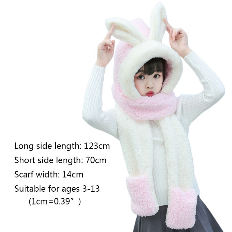 Kids 3 In 1 Scarf Hat Gloves Stitching Color Adorable Rabbit Ear Hoodie Earflap High Quality And Brand New